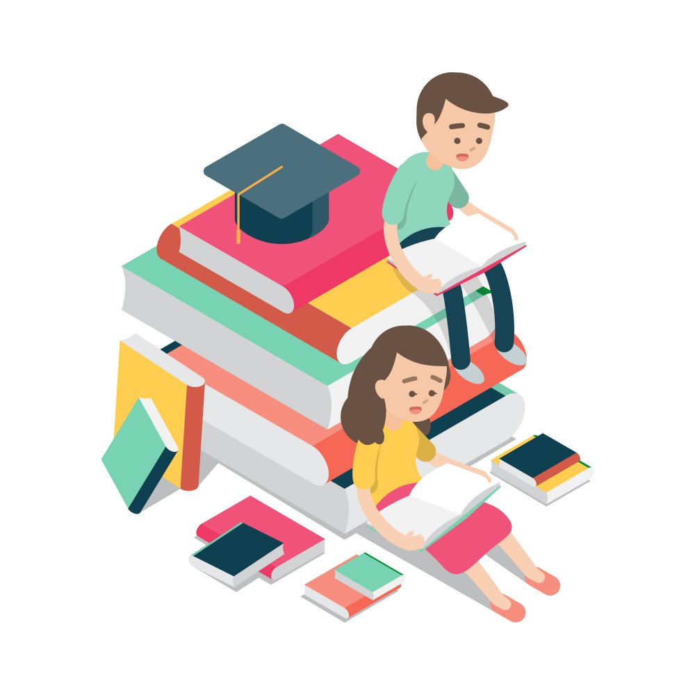 boy and girl sitting and reading on books, education knowledge design concept, Vector cartoon illustration.