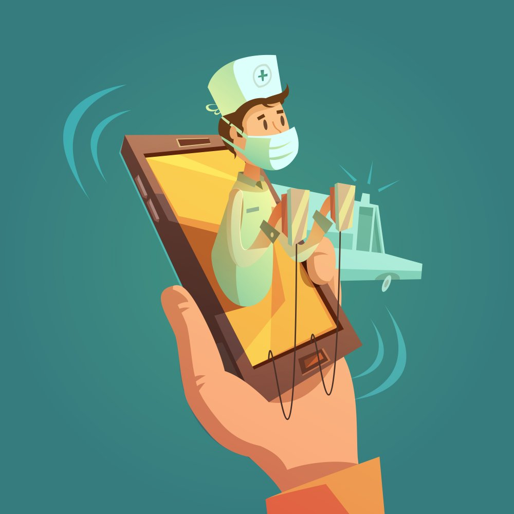 Mobile online doctor concept with mobile phone in hand cartoon vector illustration