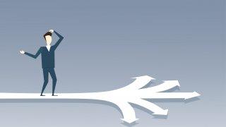 Business Man Standing On Crossroads Choose Direction Way Arrow Flat Vector Illustration