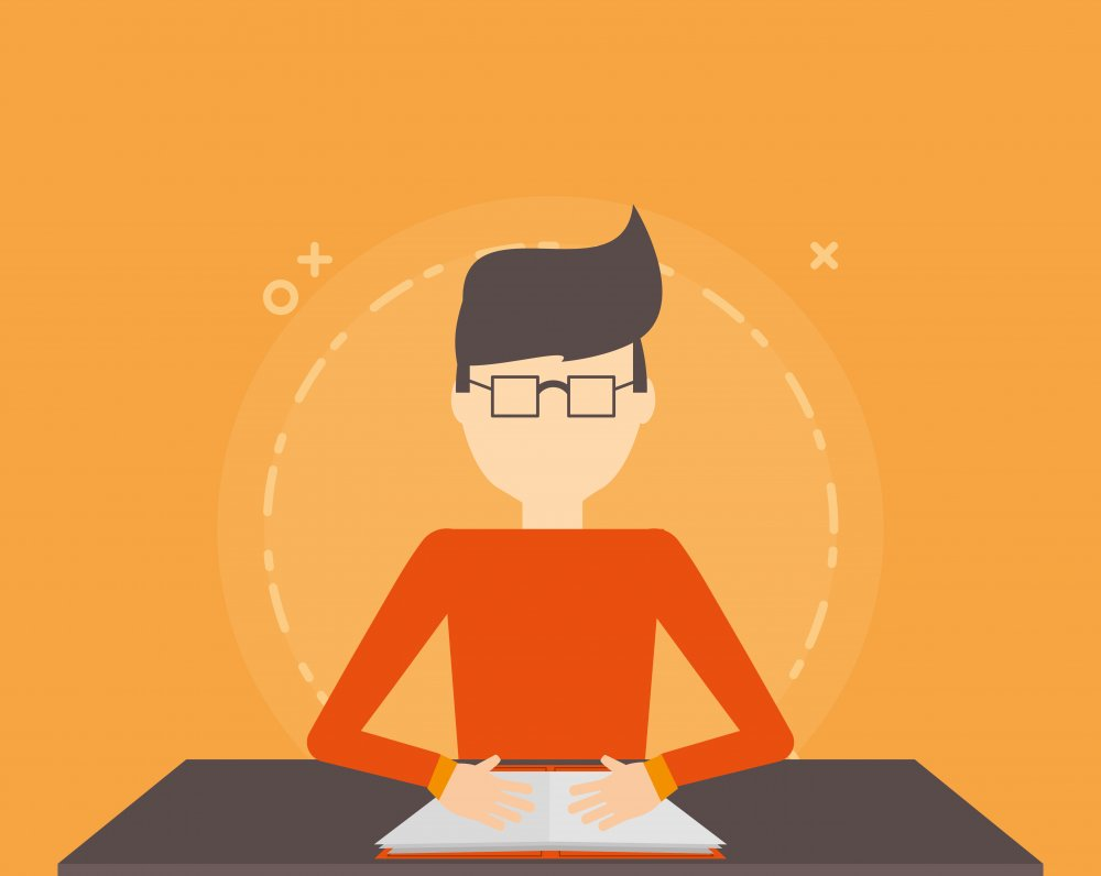avatar man reading a book over orange background, colorful design. vector illustration