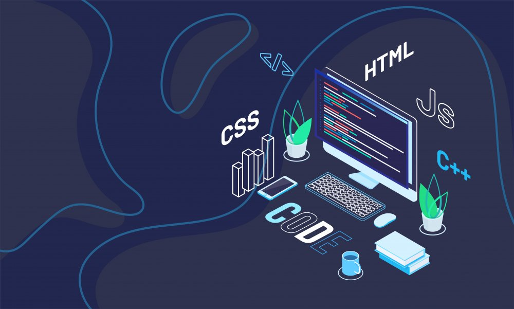 Workspace of web developer with text code on abstract blue background. Isometric design for software development.