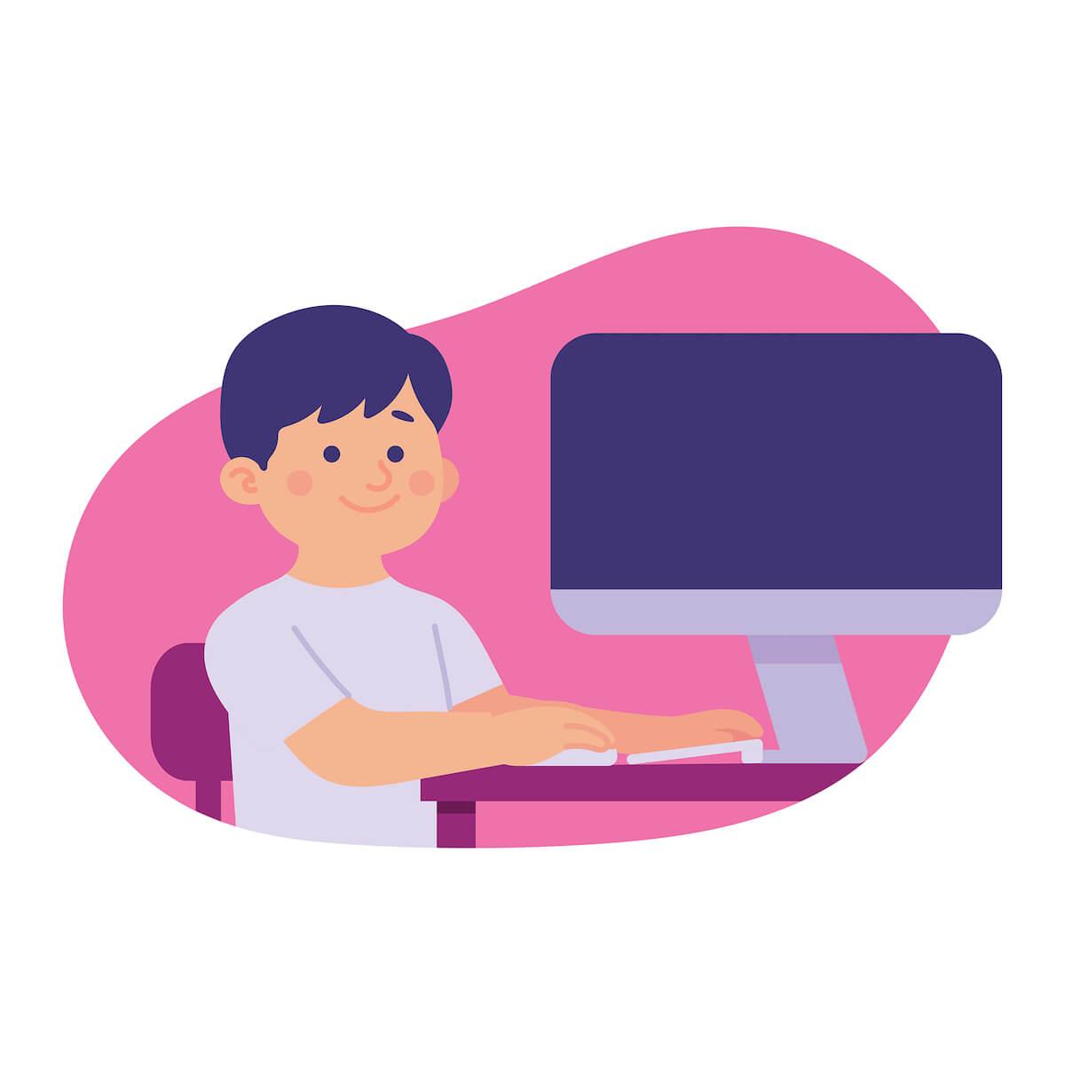 パソコンと男子